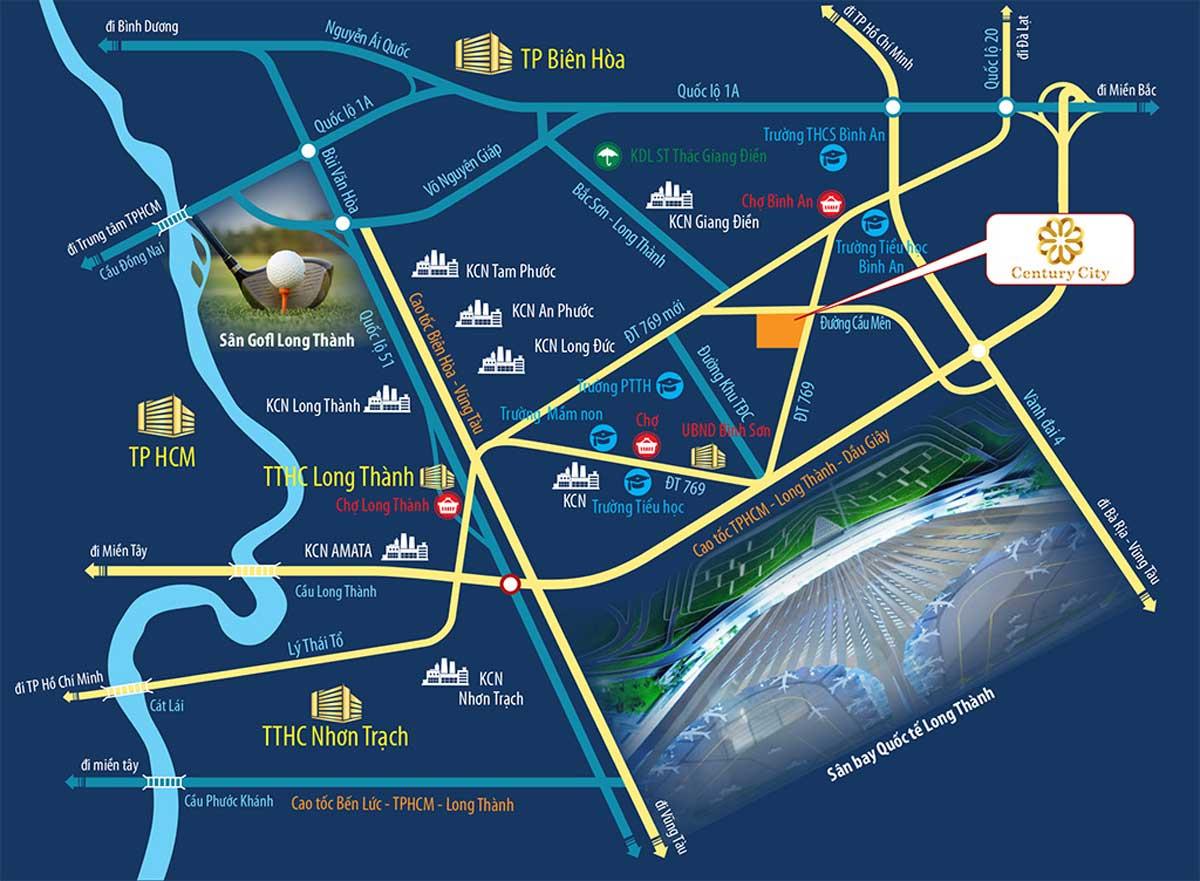 Vị trí dự án Century City Long Thành